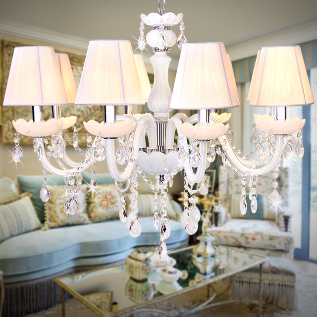 White 6 12 Pcs Glass Chandeliers For Dining Room Showroom Clear Crystal  Hang Lights Modern