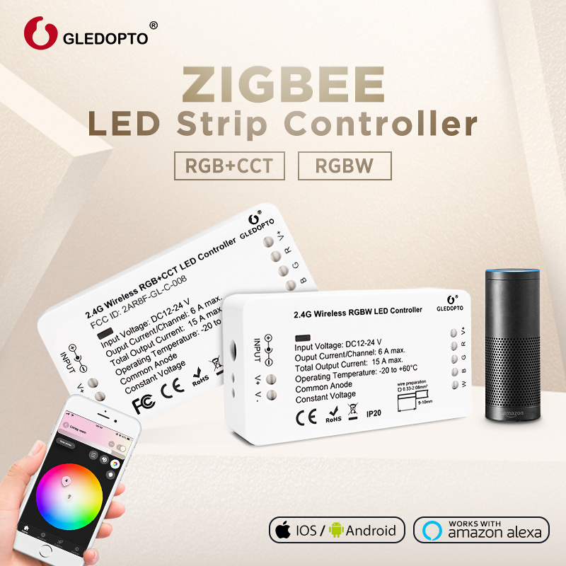 GLEDOPTO DC12-24V RGB + CCT/rgbw Zigbee smart tira de LED controlador de control de voz trabajar con Eco plus smartThings ZIGBEE 3,0 HUB