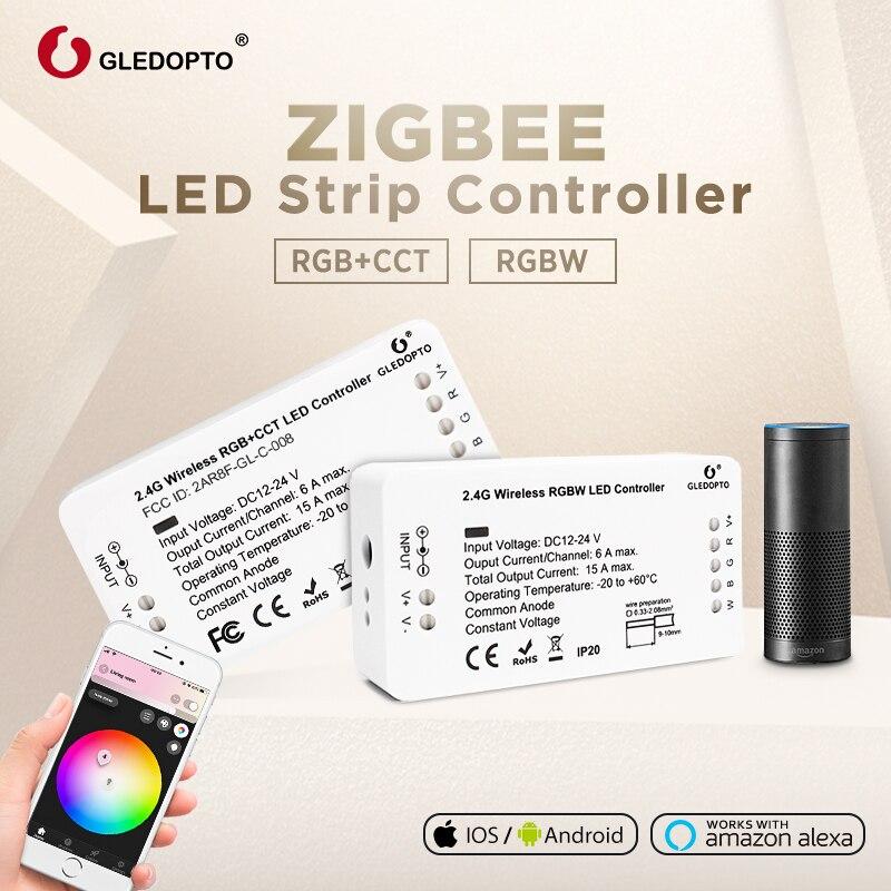 Gledopto DC12-24V rgb + cct/rgbw zigbee inteligente led strip controlador de controle de voz trabalho com eco mais smartthings zigbee 3.0 hub