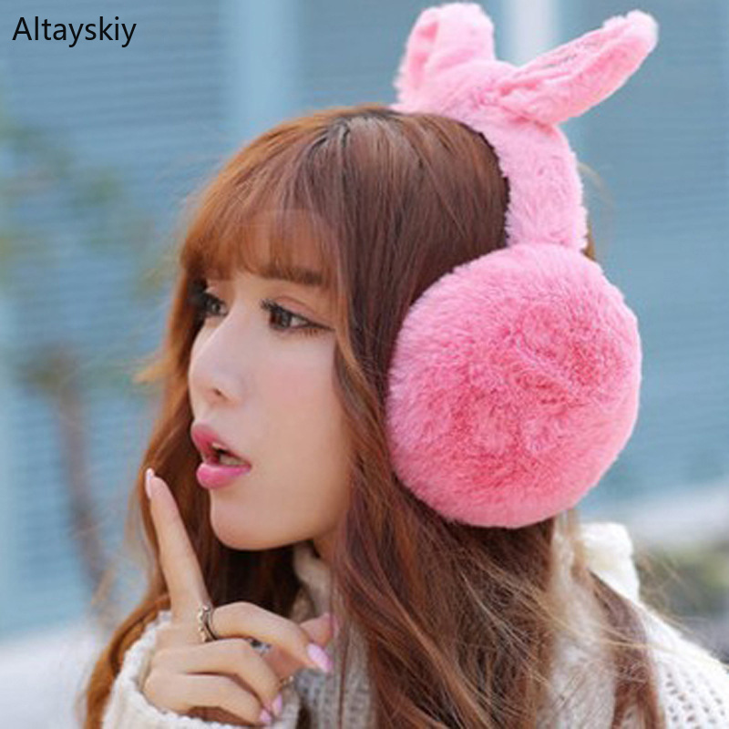 Earmuffs Women Antifreeze Plus Velvet Thicker Rabbit Ears Harajuku Kawaii Faux Fur Winter Solid Womens Earmuff Korean Style Chic