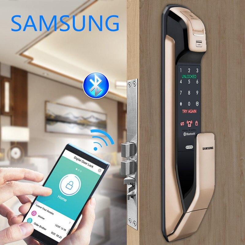SAMSUNG Versão Inglês SHS-DP728 Bluetooth Fingerprint Keyless PUSH PULL Fechadura Da Porta Digital de Ouro Preto ou Lasca Preto