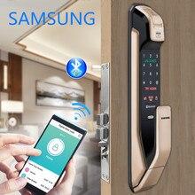 SAMSUNG ลายนิ้วมือกดดึงประตูล็อคดิจิตอลพร้อม WIFI Bluetooth App SHS DP728 ภาษาอังกฤษรุ่น Big Mortise AML320