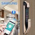 Samsung impressão digital push pull fechadura da porta com wifi bluetooth app SHS-DP728 versão inglês grande mortise aml320