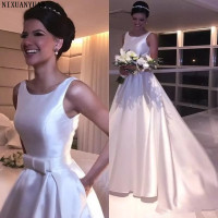 Vintage Royal Satin Wedding Dresses Elegant A line Scoop Open Backless Wedding Gown 2019 Sweep Train Robe De Marriage
