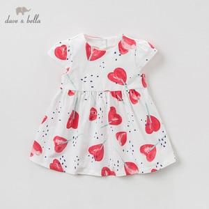 Image 2 - DBA9360 דייב bella קיץ תינוקת של נסיכת חמוד אהבת הדפסת שמלת ילדי אופנה המפלגה שמלת ילדים תינוקות לוליטה בגדים