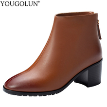 Cow Leather High Heel Ankle Boots Women New Spring Autumn Ladies Square Heels A246 Fashion Woman Zipper Black Brown Shoes Boots цены онлайн