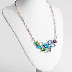 Image 4 - Neoglory collar largo con colgante de cristal austríaco para mujer, diseño geométrico colorido, Color dorado champán, regalo de marca