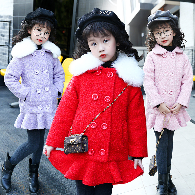 Child 2018 Girls Autumn and Winter Detachable Fur Collar Wool Color Coat Cotton Padded CoatChild 2018 Girls Autumn and Winter Detachable Fur Collar Wool Color Coat Cotton Padded Coat