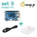 Orange Pi PC набор 3: Orange Pi PC + ABS Прозрачный Корпус + 4.0 ММ-1.7 ММ USB для DC кабель питания За Малиновый