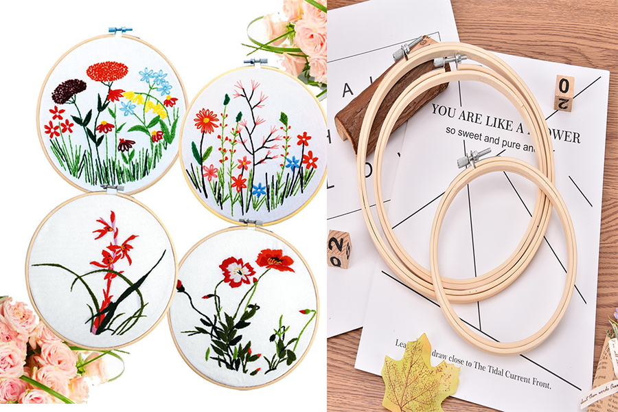 Cross Stitch Bamboo Frame  Hoop Ring Tool Sewing DIY Art Craft Accessories