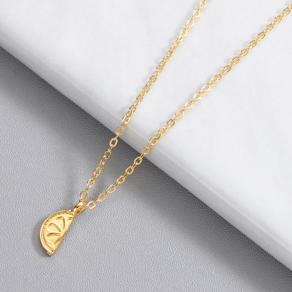 Chereda Lemon Tiny Stainless Steel Necklaces for Women Delicate Chain Pendant Creative Fruit Necklace Gift in Pendant Necklaces from Jewelry Accessories