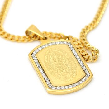 iced-out-cz-nuestra-senora-virgen-de-guadalupe-pure-gold-color-virgin-mary-dog-tag-pendant-275inch-cuban-chain-bling-necklace