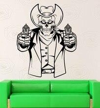 Creativa Cráneo Cabeza Texas Vaquero Con Pistolas Salón Etiqueta de La Pared Casero Mural de La Moda Especial Art Decor Extraíble DecalM-58