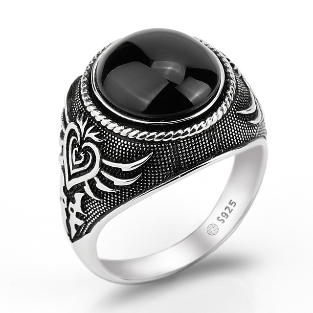 925 Sterling Silver Men Ring Featured Black Big Natural Stone Silver Ring with Poker Vintage Skeleton Design for Man Jewlery