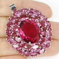 Beautiful Pink Tourmaline Created SheCrown Woman's Party   Silver Pendant 42x32mm