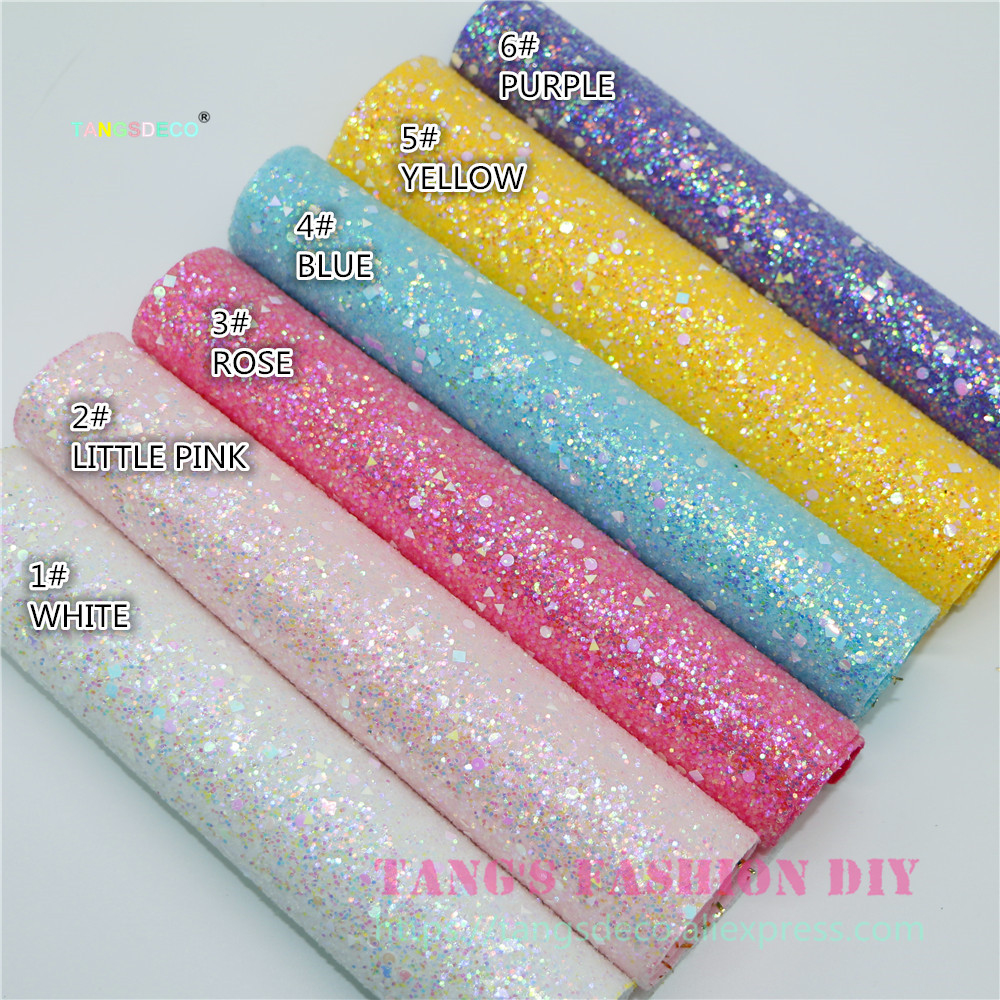 6pcs--20x22cm Candy Color Chunky Glitter  PU LEATHER/Synthetic Leather Artificial Leather