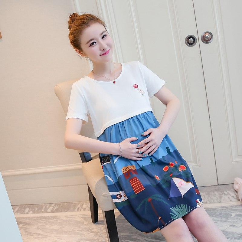 Korean version of the maternity dress summer nursing dress cartoon round neck print dress pregnant women casual dress