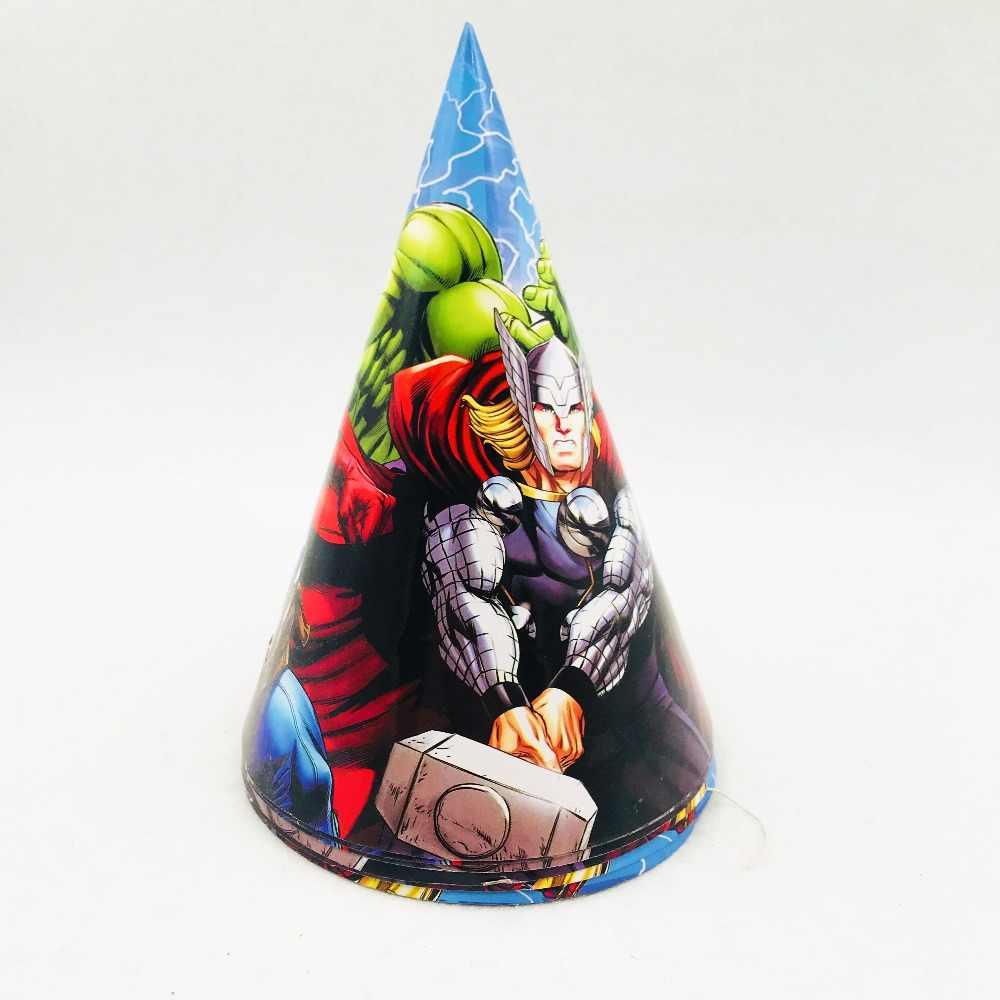 6 Buah/Set Avengers Kertas Topi Ulang Tahun Perlengkapan Pesta Topi untuk Bayi Shower Anak-anak Kartun Superhero Dekorasi Pesta Festival Nikmat