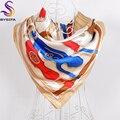 2016 Хаки Женщин Атласная Шарфы Отпечатано Европа Америка Марка Дизайн Сеть Pattern Имитационные Шелковый Шарф Шаль На Осень Зима
