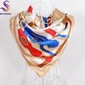 2016 de Color Caqui Mujeres Satén Bufandas Impreso Europa America Marca Cadena de Diseño Patrón de Seda Imitado Mantón de La Bufanda Para El Otoño Invierno