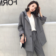 Костюм для женщин, осень, темперамент, повседневный свободный длинный костюм, куртка, брюки, однотонный цвет, Элегантный Модный комплект из двух предметов