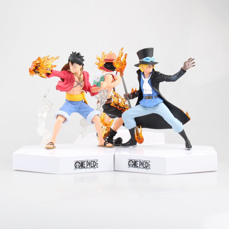 3pcs/set Anime One Piece 16cm Luffy & Ace & Sabo 3 brothers with Base Action Figure Model Toys Dolls