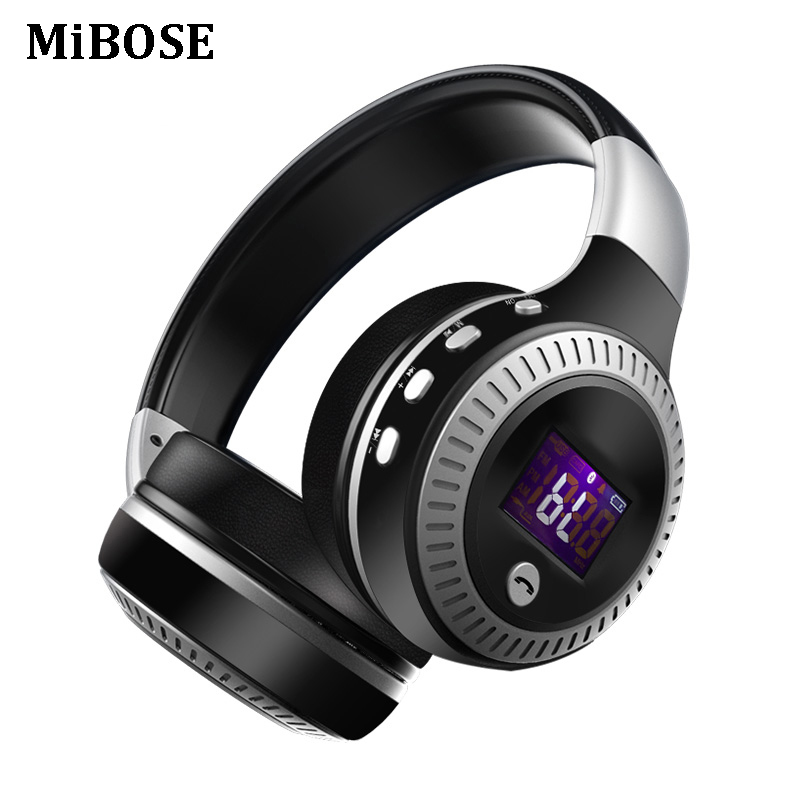 MiBOSE Bluetooth Headphones Wireless Stereo Earphone Headphone with Mic Headsets Micro-SD Card Slot FM Radio For Phone & PC ks 508 mp3 player stereo headset headphones w tf card slot fm black