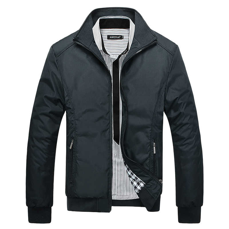 5a63978ae95 ... NIBESSER Мужская классическая куртка с воротником-стойкой мужские куртки  и пальто уличная куртка-бомбер ...