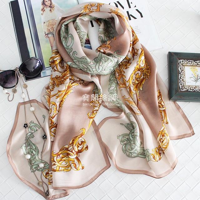 100%Silk Retro Chain Printed Women Winter Scarves 180x65cm Big Size Foulard Echarpe Luxury Brand Warm Shawls Elegant Hijab S7