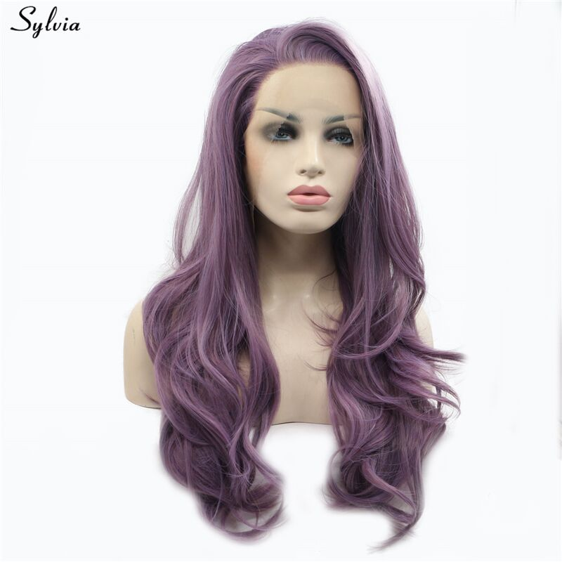Sylvia Long Soft Wavy Tyrian Purple Wigs pastel violet  lace front wig synthetic heat resistant fiber glueless 180% density (6)