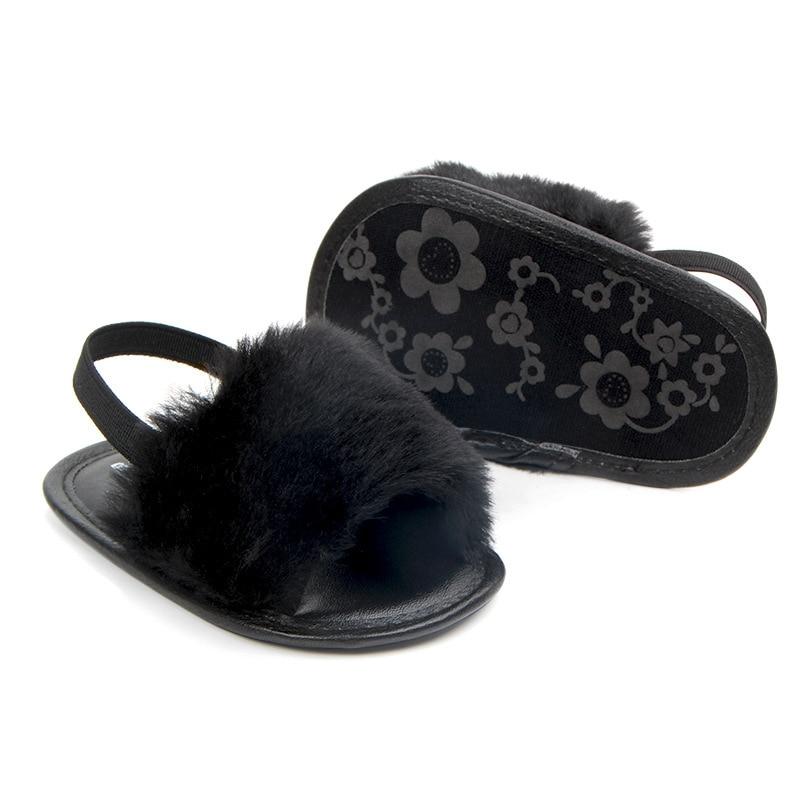 Купить с кэшбэком New Born Baby Sandals Fashion Faux Fur Toddler Summer Shoes Cute Plush Slide Sandal Infant Slippers Princess Girls Loafers Flats