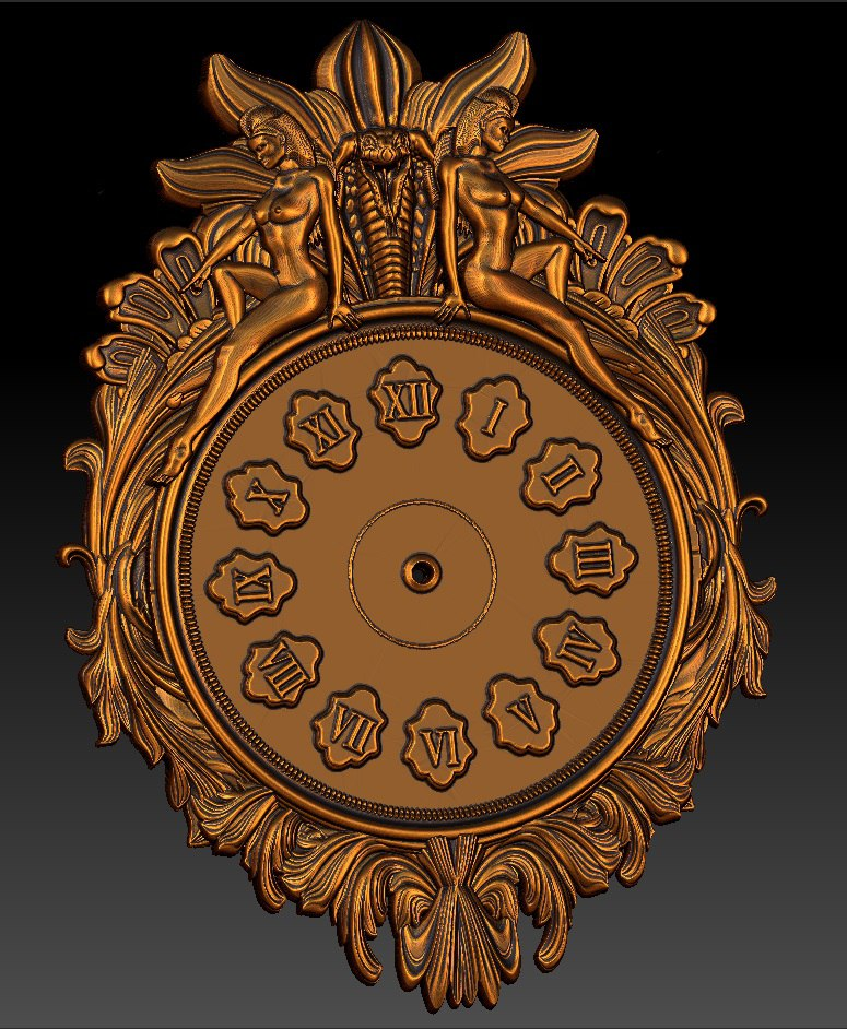 Digital File In STL Format Clock For CNC 3D Relief Carving Engraving C36-31