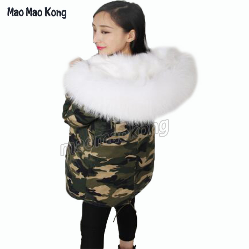 Plus size big raccoon fur collar hooded coat new winter army green jacket outwear thick parkas high quality 2017 plus size 2017 women outwear long camouflage winter jacket thick parkas raccoon natural real fur collar coat hooded pelliccia
