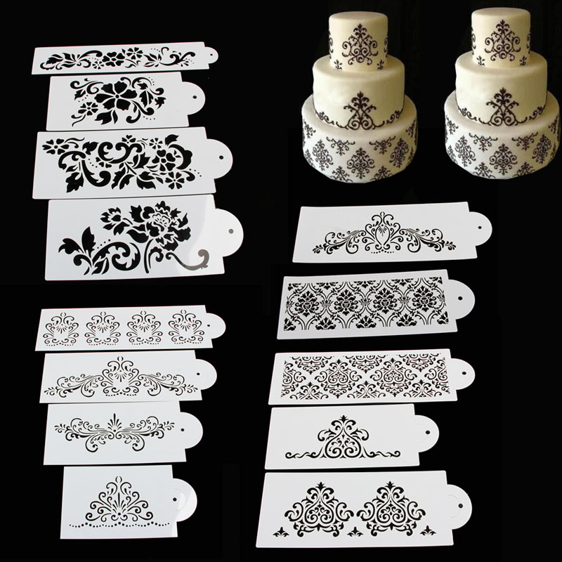 1 Baking Accessories Set Lace Flower Cake Cookie Fondant Side Baking Stencil Wedding Decorating DIY Tools