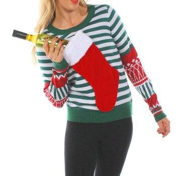 b31ff91cb48 LOSSKY Navidad calcetines a rayas Patchwork T camisa Casual cuello redondo de  manga larga Otoño e Invierno camiseta de otoño Tops camisetas para las  mujeres