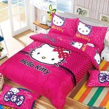 Bonjour Kitty Ensemble de Literie Enfants Coton Lit Ensembles Bonjour Kitty Housse de couette Drap de Lit Taie D'oreiller 4 pcs Lits Complet Reine Livraison gratuite