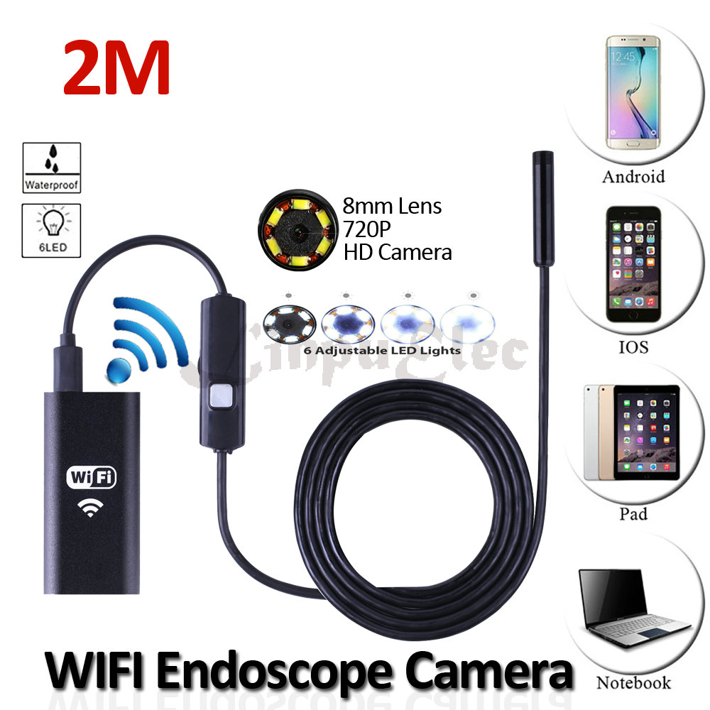 HD720P 8mm Lens WIFI Endoscope Snake USB Camera 2M Flexible USB IP67 Waterproof Inspection Tablet Borescope Android HD Camera gl9008 8mm endoscope ip67 waterproof with colorful lcd monitor camera head inspection av handheld cmos