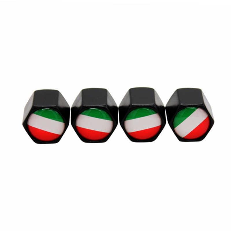 4 قطعة/الوحدة الأسود ايطاليا العلم شعار سيارة عجلة الاطارات صمام كاب سيارة التصميم السيارات صور الغبار كاب ل مقعد شقة ألفا