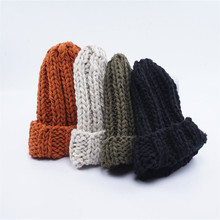 New Arrival Stylish Autumn Winter Warm Women Braided Crochet Wool Knitted Beanie Beret Ski Ball Cap Baggy Solid Hat Skullies