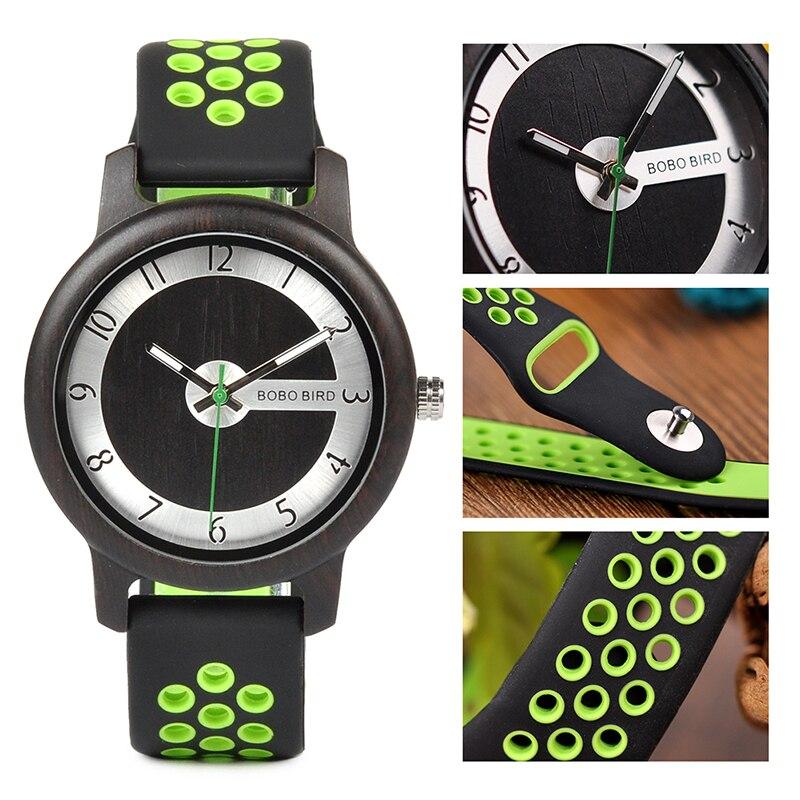 BOBO BIRD Wooden Wristwatches Silicone W-R11