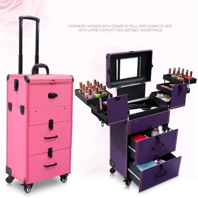 Women Large Capacity Trolley Cosmetic Case Rolling Luggage Bag,Nails Make Up Toolbox,Multi-layer Beauty Tattoo Trolley Suitcase