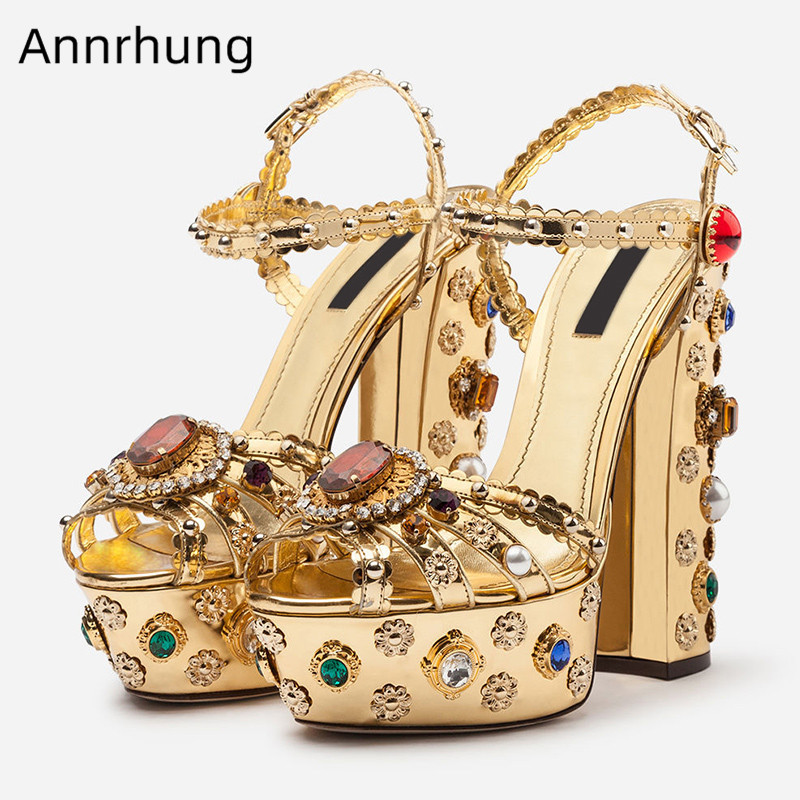 Colourful Rhinestone Gladiator Sandals Women Platform Chunky High Heels Gold Studded Crystal Shoes Woman Sandalias Mujer 2019Colourful Rhinestone Gladiator Sandals Women Platform Chunky High Heels Gold Studded Crystal Shoes Woman Sandalias Mujer 2019