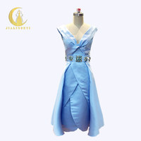 JIALINZEYI Sexy Fashion Newest Sky Blue Satin With Crstal Cash Knee Length Sexy Party Dresses Prom