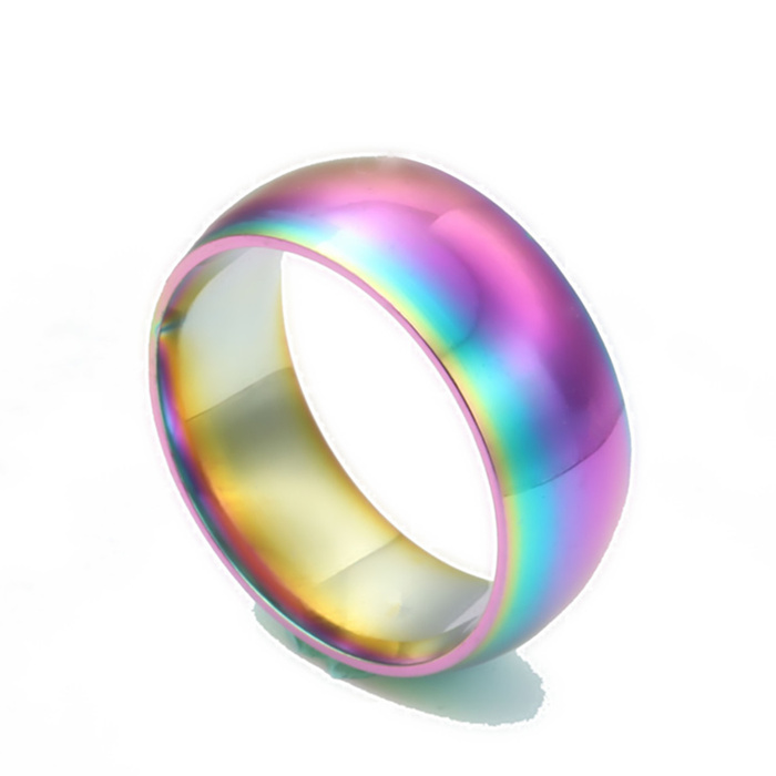 Men Women Rainbow Colorful Ring Titanium Steel Wedding Band Ring Width 8mm Size 7-13 Gift