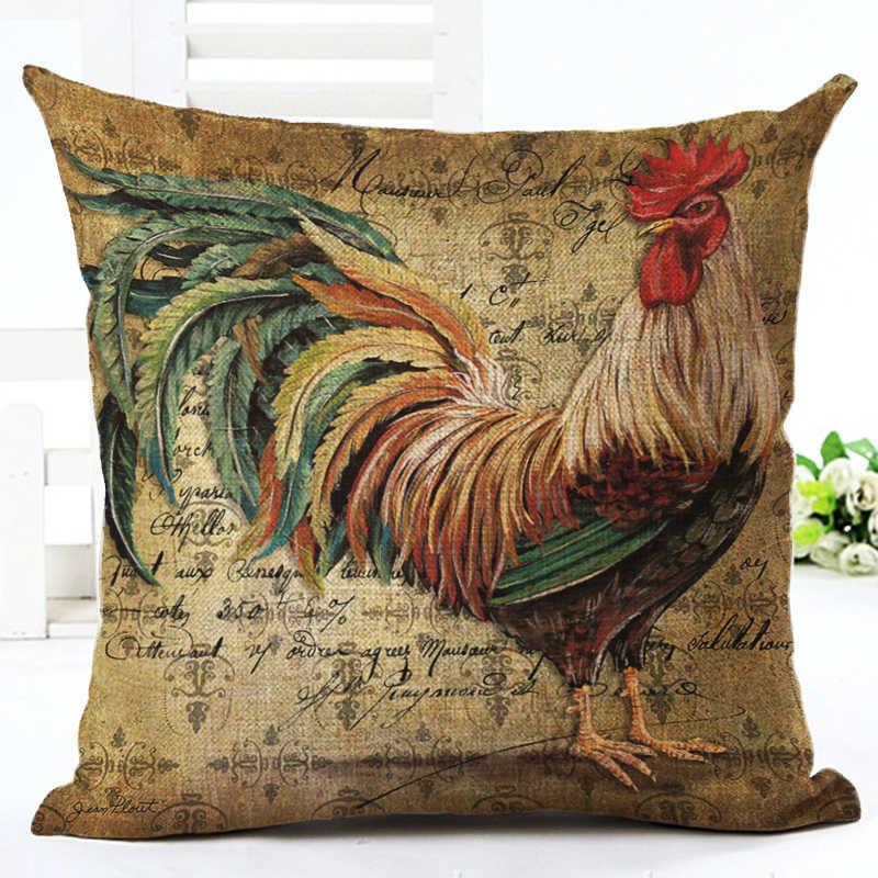 Vintage Cushion Cover Mr Cock Hen Moden Pillowcase Cotton Linen Animal Printed BedRoom Home Decorative Throw Pillows Decor