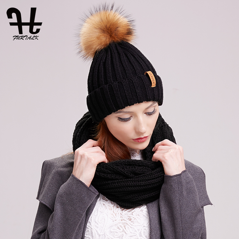 FURTALK  Winter Hat And Scarf Set Women Knitted  Pompom Beanie Hats Knitting Infinity Scarves Warm Ring Scarf Set
