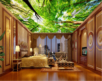 Beibehang Fantasy Fashion High Green Wallpaper Sky Ceiling In The Forest Murals Personalized Background Wallpaper For