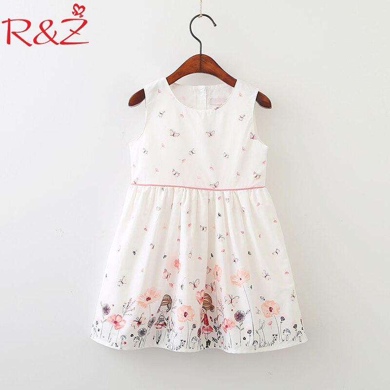 R&Z Baby Girls Dress 2018 Spring New Cotton Cartoon Butterfly Dress Korean Version of Clotheschildren's Kids Clothing 2-10Y 2018 spring new korean girls cotton dot