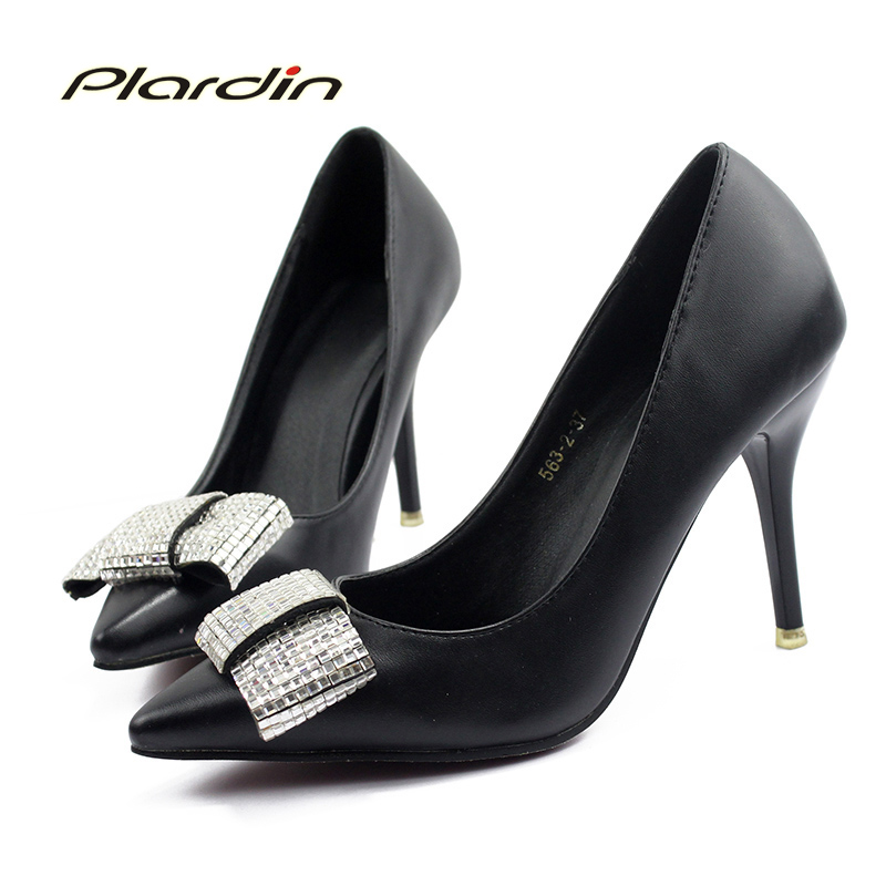 plardin 2018 Shoes Woman Rhinestone Sexy Women Party Wedding Thin Heel Pumps Crystal Spring Summer Women High Heels ladies shoes summer platform wedges party shoes for woman extreme high heels sexy wedding shoes woman comfort female shoes heel