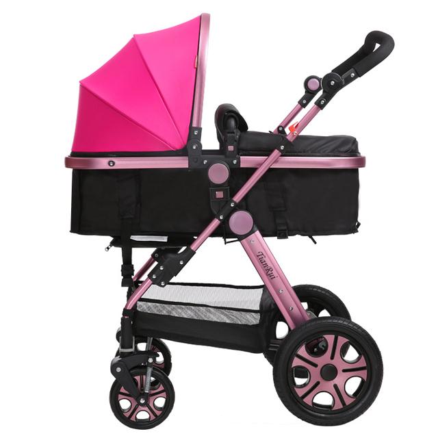 Venda quente Carrinho de Bebê de Alta Paisagem Quadro Rosa De Ouro À Prova de Choque de Carro Do Bebê Portátil Dobrável Fácil Carrinhos para Recém-nascidos C01